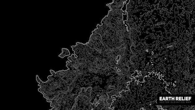 Mappa di rilievo della terra astratta vettoriale