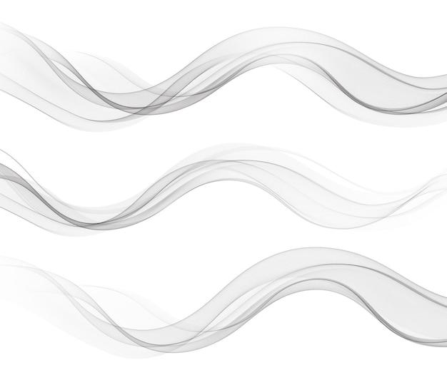 Linee d'onda fluenti astratte vettoriali isolate su elemento di design di sfondo bianco per il concetto moderno di scienza della tecnologia