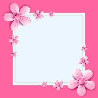 Illustrazione astratta di vettore fiori sboccia su colore rosa chiaro