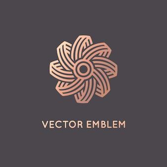 Modello di progettazione logo astratto di vettore in stile lineare alla moda