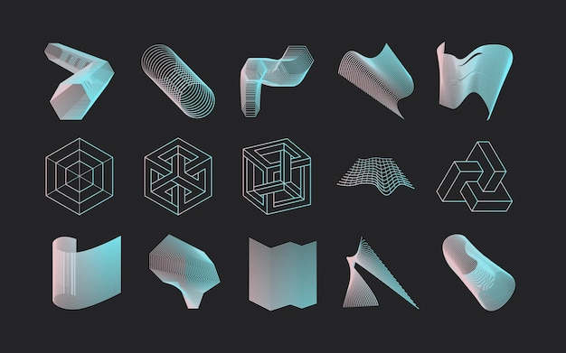 Disegno dell'icona geometrica set moderno astratto vettoriale in stile lineare alla moda