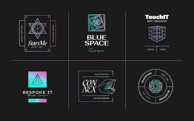 Disegno dell'icona geometrica insieme moderno astratto di vettore in lstyle alla moda