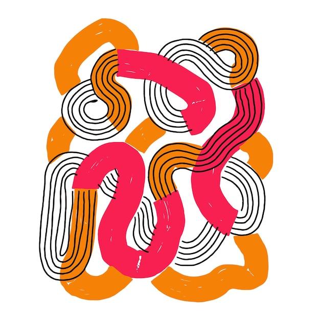 Vettore astratto pennello linea arte illustrazione risorsa grafica pop art
