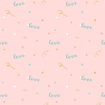 Vector abstract pattern senza giunture di cuore verde formulazione amore su sfondo rosa