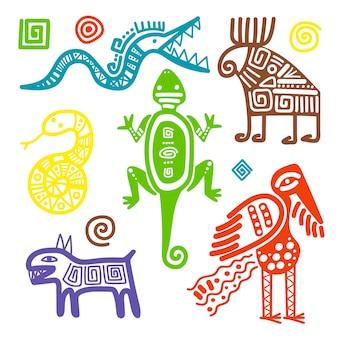 Segni tribali primitivi della cultura africana o messicana di vettore isolati su priorità bassa bianca. simboli etnici antichi