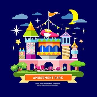 Progettazione di massima del parco di divertimenti di vettore sull'illustrazione del fondo di notte
