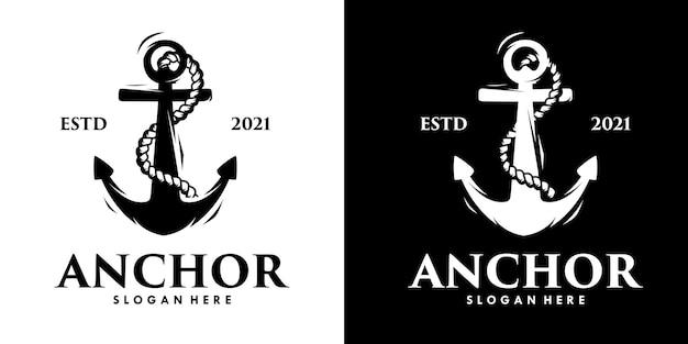 Disegno del logo della siluetta dell'illustrazione dell'ancora di vettore