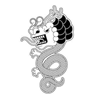 Vettore dell'illustrazione del modello del drago tradizionale cinese antico