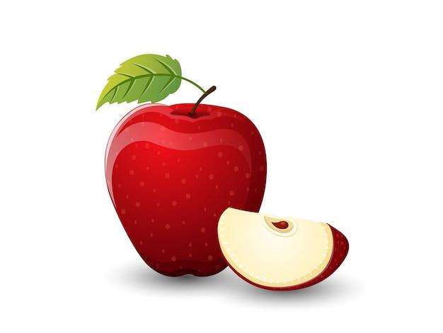 Frutti di mela di vettore isolati su fondo bianco. vettore, illustrazione