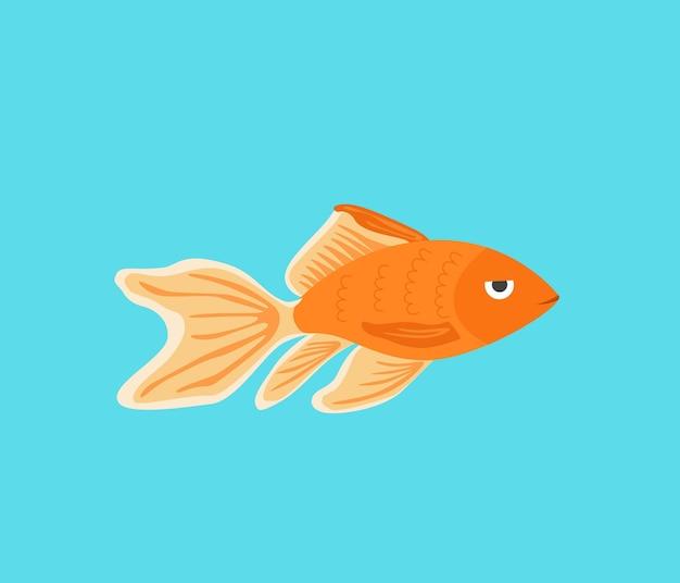 Illustrazione della siluetta del pesce d'oro dell'acquario di vettore