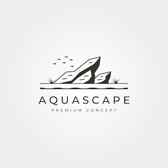 Vettore di aquascape acquario logo vintage simbolo illustrazione design