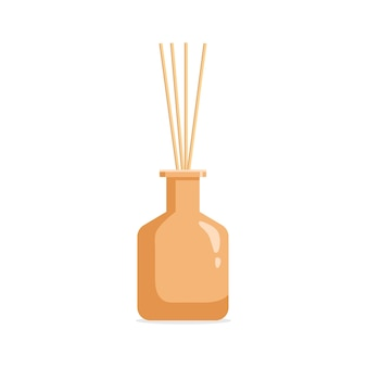 Diffusore aromatico vettoriale con olio profumato e canne
