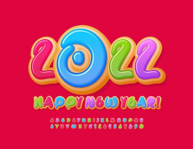 Biglietto di auguri artistico vettoriale happy new year 2022 set di lettere e numeri di alfabeto di ciambelle colorate