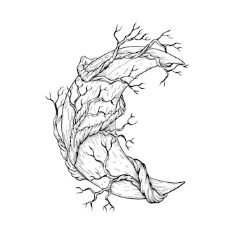 Illustrazione artistica vettoriale realizzata a mano con penna e inchiostro la luna con i rami di un albero