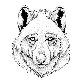 Illustrazione artistica vettoriale realizzata a mano con penna e inchiostro wolf