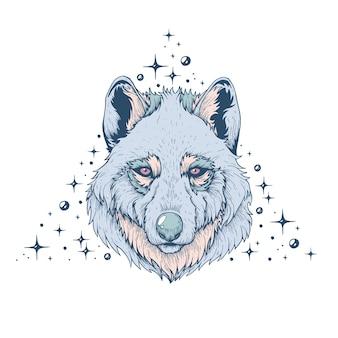 Illustrazione artistica vettoriale di lupo fatta a mano con penna e inchiostro