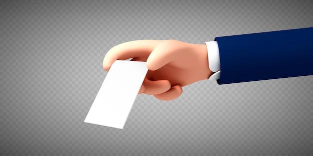 Vettore ð¡ðƒ mano artoon che tiene un'etichetta di carta bianca o un tag su sfondo trasparente. biglietto da visita della tenuta della mano dell'uomo d'affari.