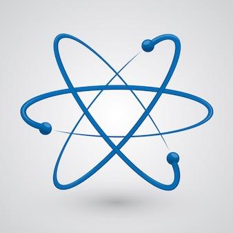 Atomo di vettore. illustrazione molecola di blu su sfondo bianco