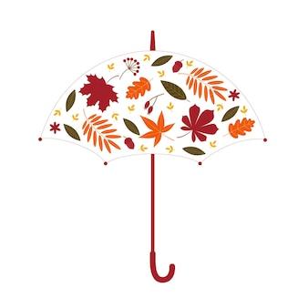 Fondo di autunno di vettore. ombrello di foglie. illustrazione piana di vettore.