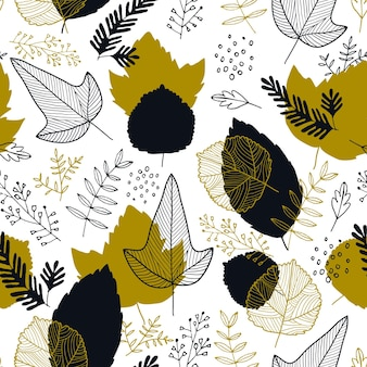 Modello senza cuciture delle foglie di autunno di vettore. sfondo autunnale per tessuti, sfondi, carta da regalo e album di ritagli. illustrazione disegnata a mano