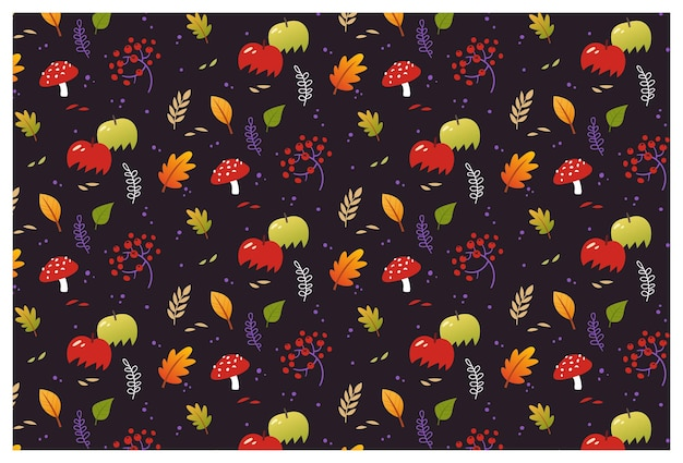 Reticolo senza giunte di autunno di vettore con foglie di piante e mele
