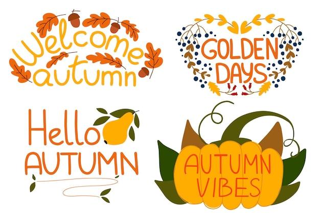 Vector set autunnale di adesivi ed elementi di raccolta di frasi scritte a mano per l'autunno