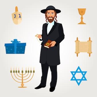 Avatar di vettore dell'uomo ebreo con il tradizionale copricapo.