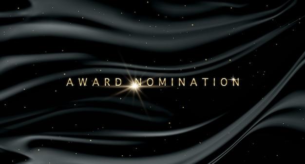 Cerimonia di nomination vector award di lusso con scintillii glitter dorati e onde nere