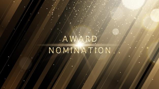 Vector award nomination cerimonia di lusso con scintillio dorato scintilla linee e bokeh