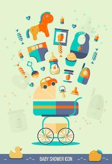 Vector baby shower illustrazione.