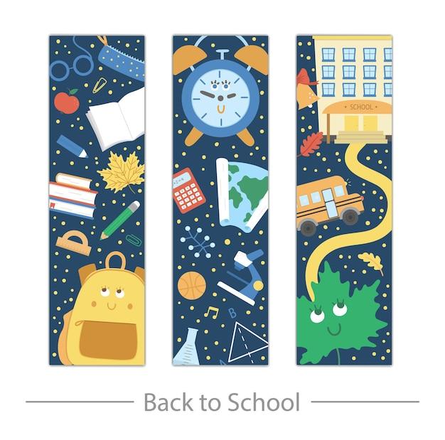 Set di segnalibri vettoriali per il ritorno a scuola con simpatica cartella, matita, sveglia, campanello, lavagna