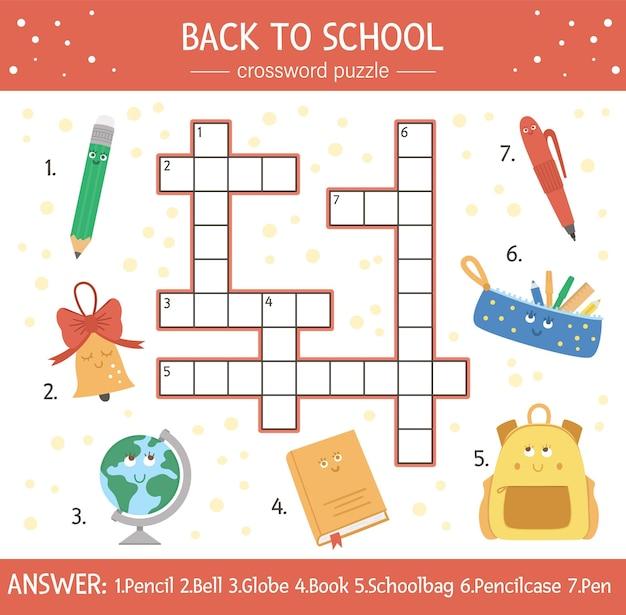 Vector torna a cruciverba scuola per bambini. semplice quiz con oggetti scolastici per bambini. attività educativa autunnale con simpatici personaggi kawaii divertenti