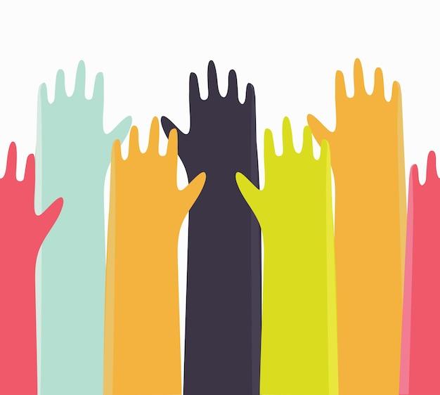Sfondo vettoriale colorato con le mani alzate