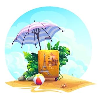 Vector sfondo illustrazione valigia da viaggio, palla, pietre, cespuglio sulla sabbia.