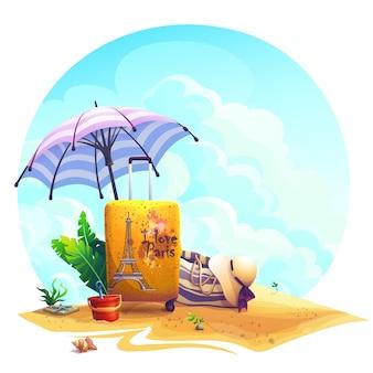 Valigia di viaggio dell'illustrazione del fondo di vettore, ombrellone sulla sabbia.