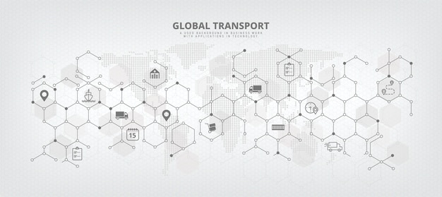 Immagine di sfondo vettoriale della catena di approvvigionamento globale e della logistica con concetti relativi all'importazione/esportazione, distribuzione e trasporto internazionale astratto con sfondo e icone della mappa del mondo.