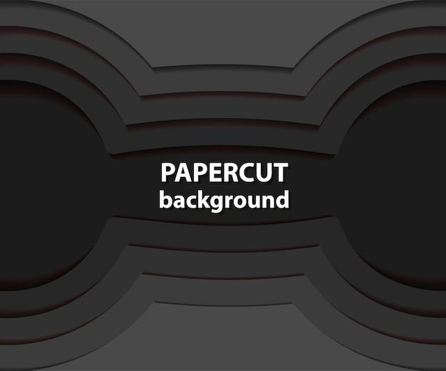 Sfondo vettoriale con forme tagliate di carta nera. stile arte carta astratta 3d, layout di progettazione per presentazioni aziendali, volantini, poster, stampe, decorazioni, cartoline, copertina di brochure.