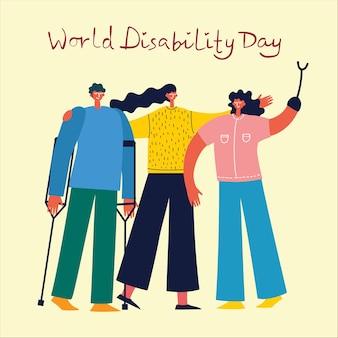Sfondo vettoriale con persone disabili, giovani handicappati e amici vicino ad aiutare. giornata mondiale della disabilità. personaggi dei cartoni animati piatti.
