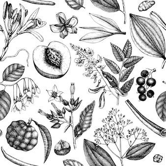 Sfondo vettoriale con frutti e fiori profumati sfondo di ingredienti cosmetici e profumeria abbozzato a mano design di piante aromatiche e medicinali modello botanico senza cuciture per marchi o imballaggi