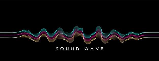 Fondo di vettore con l'onda astratta di colore dello spettro. bandiera di scienza moderna. equalizzatore musicale o concetto di onda sonora