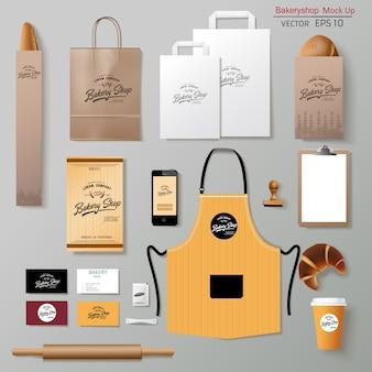Insieme di progettazione del modello di identità del marchio aziendale di panetteria vettoriale. porta via il mock up