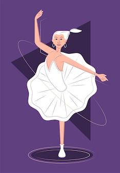 Ballerina vettoriale su una gamba all'ombra di uno stile di linee nette
