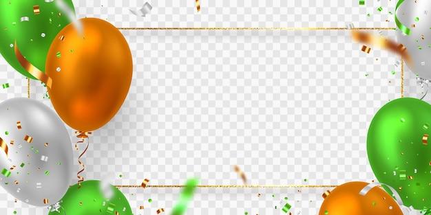 Cornice di palloncini vettoriali nel tradizionale tricolore della bandiera indiana. elementi decorativi realistici per le feste nazionali dell'india. isolato su sfondo trasparente.