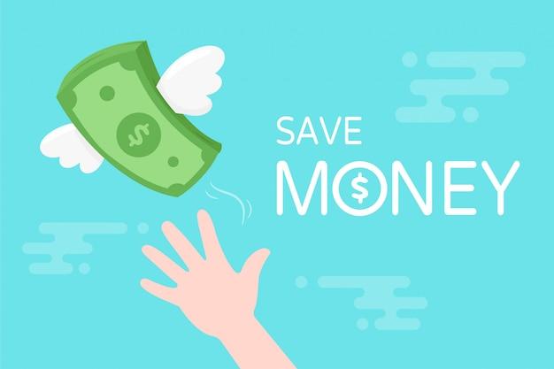 Dollari delle banconote vettoriali. banconote con le ali che si alzano nel cielo. concetti di pagamento delle tasse e risparmio di denaro.