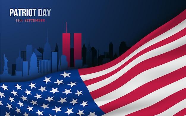 Modello di progettazione banner vettoriale con bandiera americana e skyline di new york