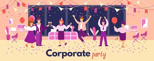 Banner vettoriale di una divertente festa aziendale in ufficio