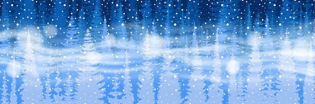 Banner vettoriale su un tema di capodanno, neve che cade, foresta e bufera di neve, banner