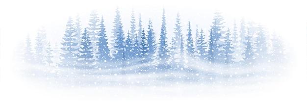 Banner vettoriale su un tema di capodanno, neve che cade, foresta e bufera di neve, vignetta, banner