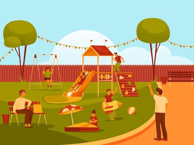 Banner vettoriale della vista del parco giochi o della scuola materna