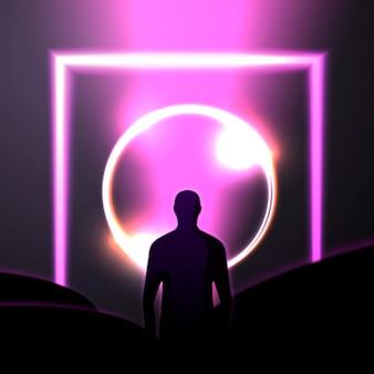Modello di progettazione del manifesto dell'insegna di vettore nello stile del futurismo con il cerchio e l'uomo luminosi del fascio